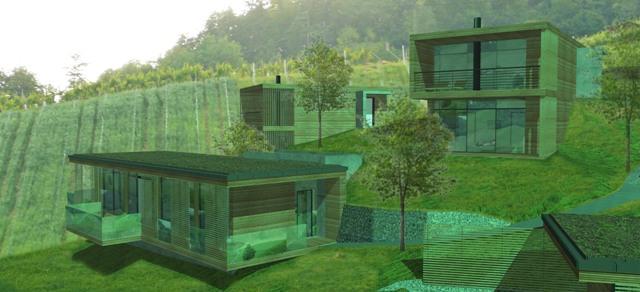 Projektstudie Weinkellerei mit Ferienhäuser