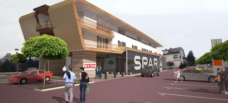 Projektentwurf Wohnhaus mit Büro und Geschäftszeile