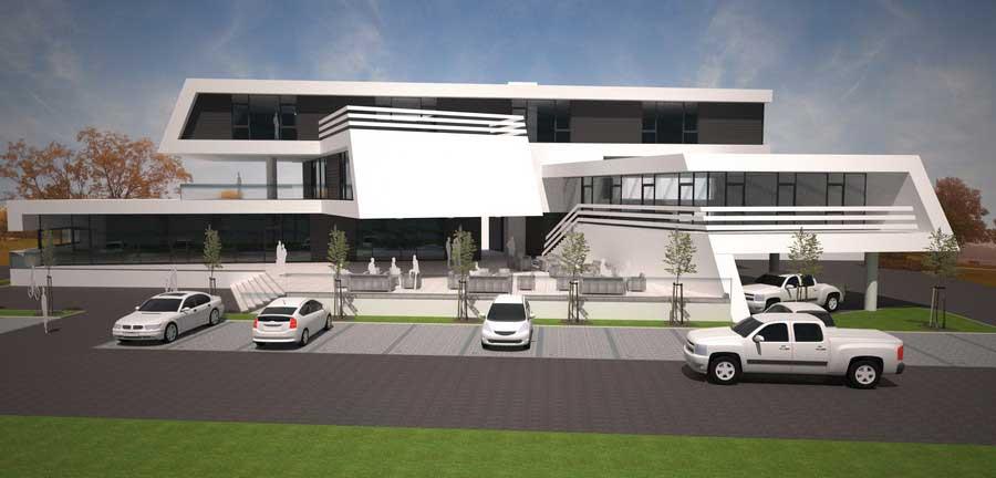 Projektentwurf Geschäfts- und Bürohaus Wolfsberg